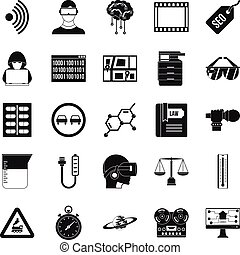 Gaining knowledge icons set, simple style - Gaining...