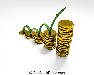 gains, business, graphique, projection, flèche, profite, 3d