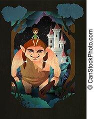 gaints, ragazzo, testa, seduta, fairytale, illustrazione, vettore, foresta, fronte, castle.