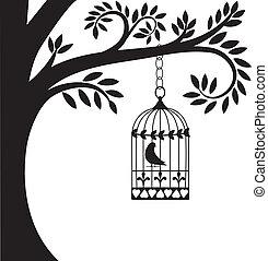 gaiola, árvore, pássaro