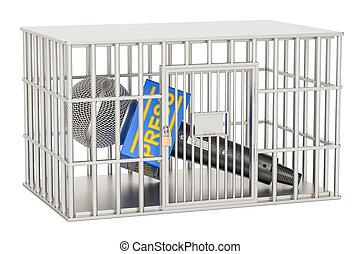 gaiola, microfone, liberdade, dentro, cell., proibição,...
