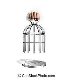 gaiola, segurando mão