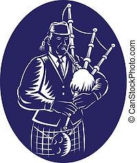 gaitero, grande, escocés, juego, hig