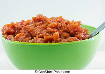 gajar, ka, halwa, es, un, carrot-based, dulce, postre, pudín, de, india