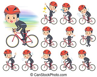 gakuran, jongen, school, fiets, rijden