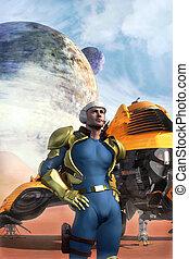 galáctico, héroe, y, nave espacial