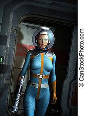 galáctico, heroína, en, un, nave espacial