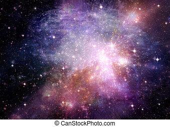 galáxia, em, um, livre, espaço