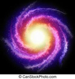 galáxia, espiral, fundo
