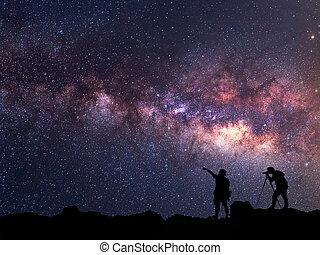 galáxia, meio leitoso, star-catcher., pessoa, ficar, logo