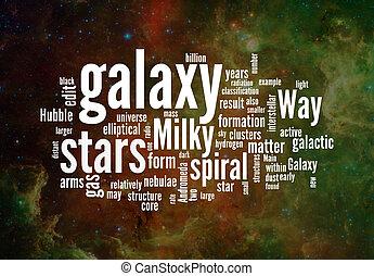 galáxia, palavra, nuvens