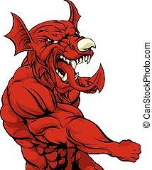 galês, perfurando, dragão