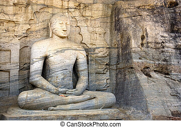 Gal Vihara, Polonnaruwa, Sri Lanka - Image of a seated...