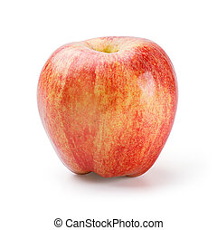 Gala Apple - Close up organic gala apple isolated on white -...