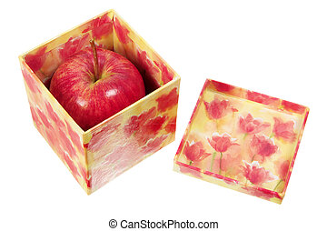 Gala Apple in Gift Box on White Background