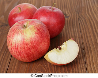 gala apples on wood table, rustic style