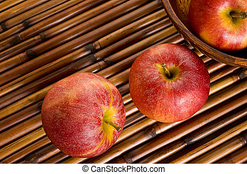 Gala Apples - Red Royal Gala apples on placemat