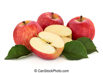 Gala Apples - Gala apples with leaf sprig isolated over...