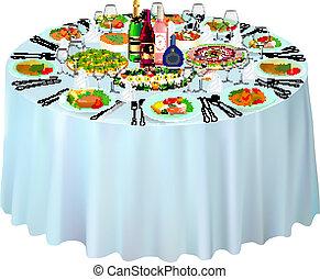 gala, buffet, servi, blanc