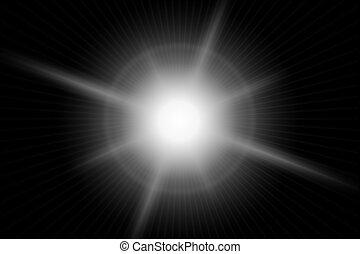 Large flare over black.