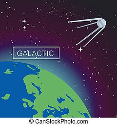 Galactic space concept background, flat style