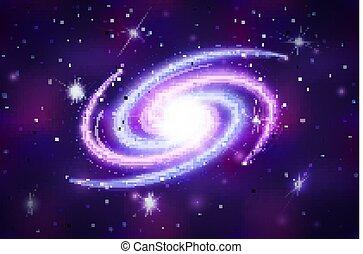 galactique, fond, espace, pourpre, spirale, profond, clair, constellations, étoiles