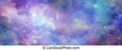 galaktyczny, przestrzeń, barwny, kosmiczny, tło, chorągiew