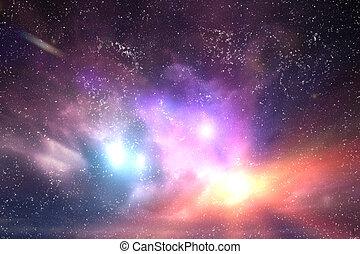 galaktyka, przestrzeń, sky., światła, kaprys, gwiazdy, tło