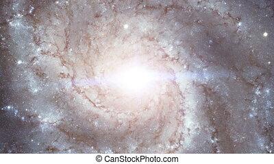 galaktyka, ruch obrotowy, w, przestrzeń, wierzchem, aparat fotograficzny