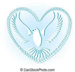 galamb, jelkép, közül, béke, és, szabadság