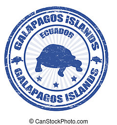 Galapagos Islands stamp - Blue grunge rubber stamp with the...
