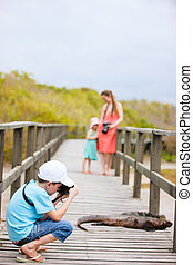 Galapagos islands vacation - Family on vacation at Galapagos...
