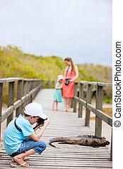 Galapagos islands vacation - Family on vacation at Galapagos...
