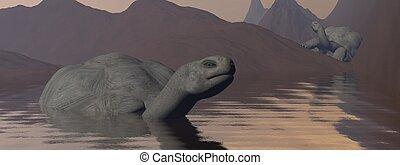 Galapagos tortoises in water - 3D render