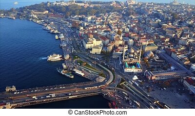Galata Bridge aerial photography - Galata Bridge,Bosphorus...