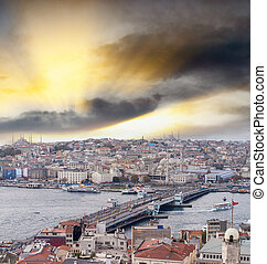 Galata Bridge and city skyline, Istanbul
