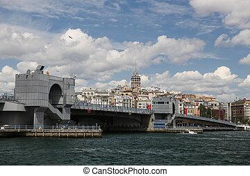 Galata Bridge and Galat Tower in Istanbul City