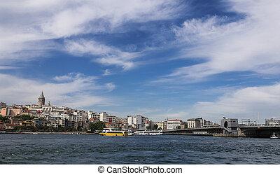 Galata Bridge and Galat Tower in Istanbul City, Turkey