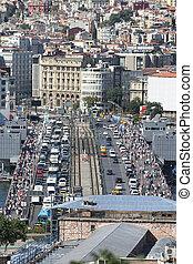 Galata Bridge and Karakoy district in Istanbul city, Turkey