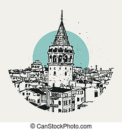 galata, croquis, dessin, illustration, tour