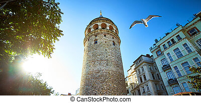 Galata Kulesi Tower and street in the old city of Istanbul,...