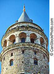 Galata Kulesi Tower in Istanbul, Turkey. Ancient Turkish...