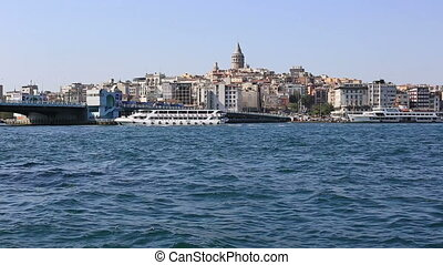 Galata Tower and Golden Horn at Istanbul Turkey