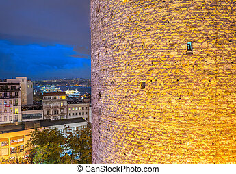 Galata Tower at night with Istanbul city view