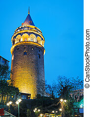 Galata Tower (Christea Turris) in Istanbul, Turkey at night...