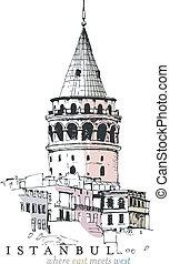 Hand drawn illustration of the Galata Tower, Istanbul, Turkey
