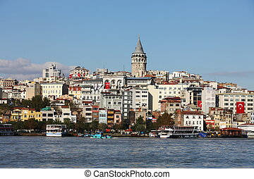 Galata Tower in Istanbul surrounded by old buildings