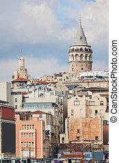 Galata Tower in Istanbul Turkey - Beyoglu district historic...