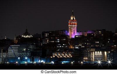 Galata Tower in Istanbul, Turkey - Night Shot of Galata...