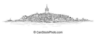 GALATA TOWER - ISTANBUL - vector sketch drawing panoramic...